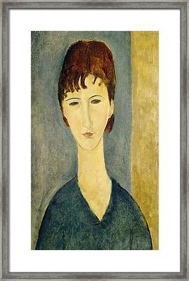 Portrait Of A Young Woman, C.1918 Framed Print by Amedeo Modigliani