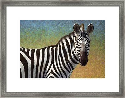 Portrait Of A Zebra Framed Print by James W Johnson