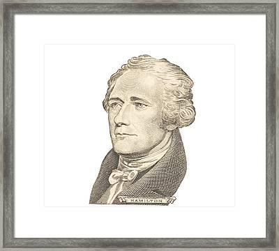 Portrait Of Alexander Hamilton On White Background Framed Print by Keith Webber Jr