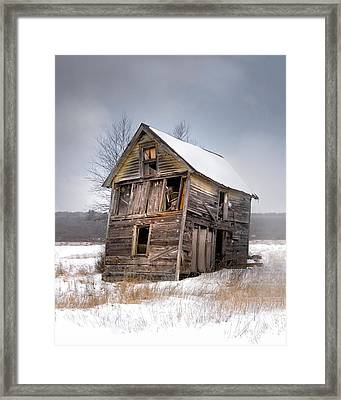 Portrait Of An Old Shack - Agriculural Buildings And Barns Framed Print by Gary Heller