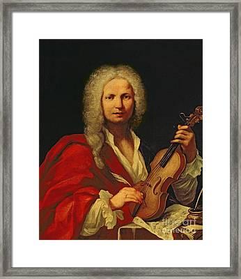 Portrait Of Antonio Vivaldi Framed Print by Italian School