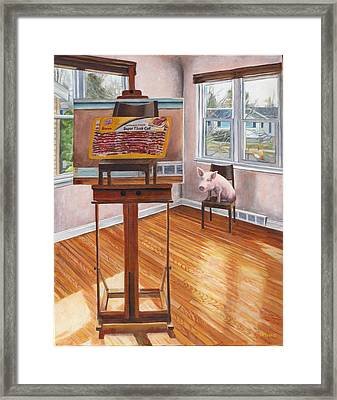 Portrait Of Bacon Framed Print by Thomas Weeks