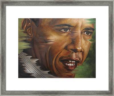 Portrait Of Barack Obama Framed Print by Ah Shui