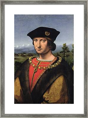Portrait Of Charles Damboise 1471-1511 Marshal Of France Oil On Panel Framed Print by Antonio da Solario