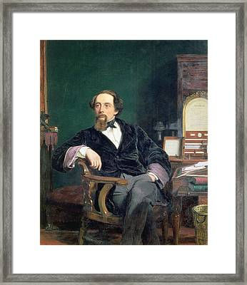 Portrait Of Charles Dickens Framed Print by William Powell Frith