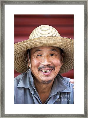 Portrait Of Chinese Peasant Framed Print by Matteo Colombo