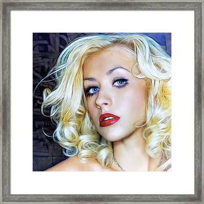 Portrait Of Christina Aguilera Framed Print by Sippapas Thienmee