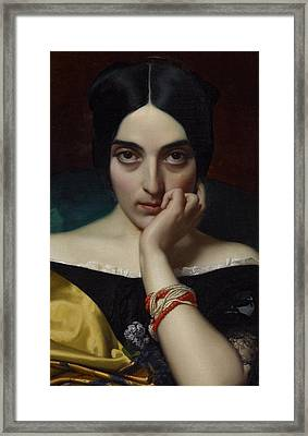 Portrait Of Clementine Framed Print by Henri Lehmann