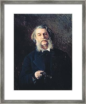 Portrait Of Dmitri Vasilievich Grigorovich 1822-99, 1876 Oil On Canvas Framed Print by Ivan Nikolaevich Kramskoy