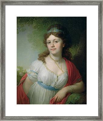Portrait Of E Temkina, 1798 Framed Print by Vladimir Lukich Borovikovsky