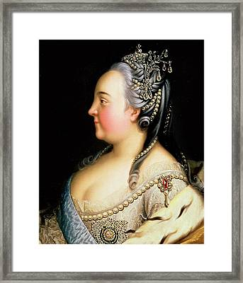 Portrait Of Elizabeth Petrovna Empress Of Russia Framed Print by Heinrich Buchholz