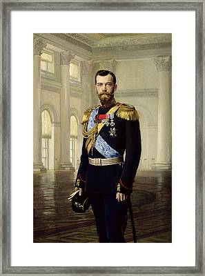 Portrait Of Emperor Nicholas II, 1900 Oil On Canvas Framed Print by Baron Ernest Friedrich von Liphart