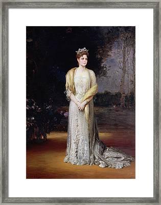 Portrait Of Empress Alexandra Fyodorovna, 1914 Oil On Canvas Framed Print by Jakov Jakovlevich Veber