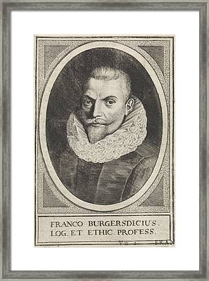 Portrait Of Franco Petri Burgersdijck, Professor At Leiden Framed Print by De Passe