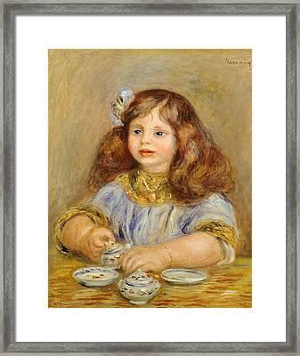 Portrait Of Genevieve Bernheim De Villiers Framed Print by Pierre-Auguste Renoir