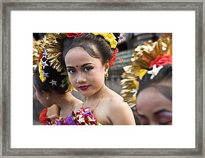 Portrait Of Girl In Traditional Costume Framed Print by Jenny Acheson