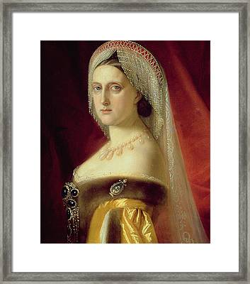 Portrait Of Grand Duchess Maria Nikolaevna Framed Print by Russian School