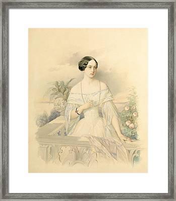 Portrait Of Grand Duchess Olga Nikolaevna Framed Print by Vladimir Ivanovich Hau