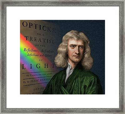 Portrait Of Isaac Newton With Spectrum Framed Print by David Parker