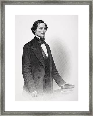 Portrait Of Jefferson Davis Framed Print by Mathew Bardy
