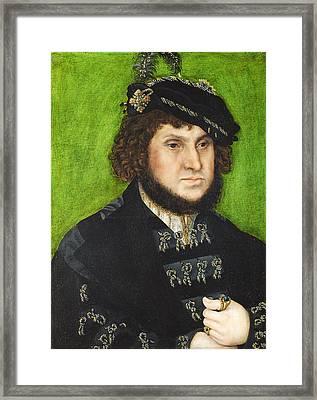 Portrait Of Johann The Steadfast Framed Print by Lucas Cranach the Elder