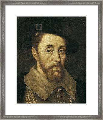 Portrait Of King James I. 17th C Framed Print by Everett