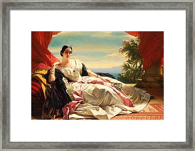 Portrait Of Leonilla Princess Of Sayn-wittgenstein-sayn Framed Print by Franz Xaver Winterhalter