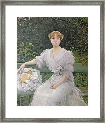 Portrait Of Marguerite Durand Framed Print by Jules Cayron