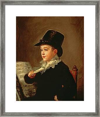 Portrait Of Marianito Goya, Grandson Of The Artist, C.1815 Oil On Canvas Framed Print by Francisco Jose de Goya y Lucientes