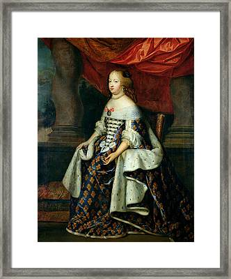 Portrait Of Marie-therese 1638-83 Of Austria, After 1660 Oil On Canvas Framed Print by Charles Beaubrun