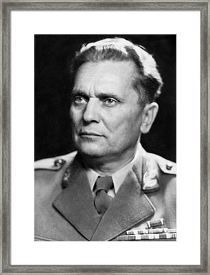 Portrait Of Marshal Tito Framed Print by Underwood Archives