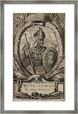Portrait Of Montezuma II Framed Print by British Library