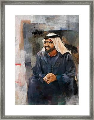 Portrait Of Muhammad Bin Rashid Al Maktoum 2 Framed Print by Maryam Mughal