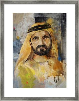 Portrait Of Muhammad Bin Rashid Al Maktoum Framed Print by Maryam Mughal