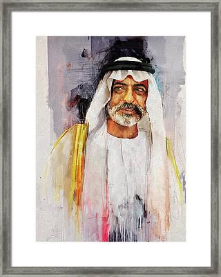 Portrait Of Nahyan Bin Mubarak Al Nahyan Framed Print by Maryam Mughal