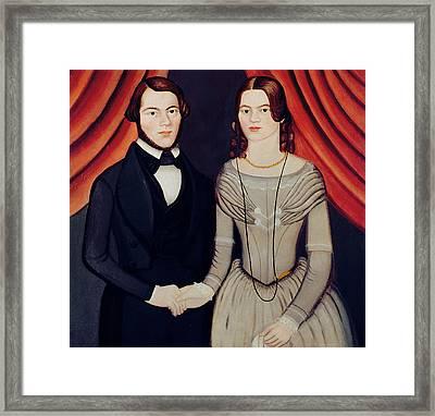 Portrait Of Newlyweds Framed Print by American School