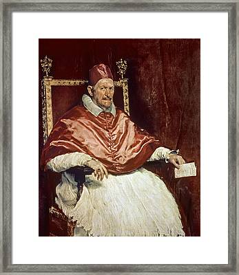 Portrait Of Pope Innocent X 1574-1655, 1650 Oil On Canvas Framed Print by Diego Rodriguez de Silva y Velazquez