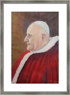 Portrait Of Pope John Xxiii - Papa Giovanni Xxiii Framed Print by Mario Zampedroni