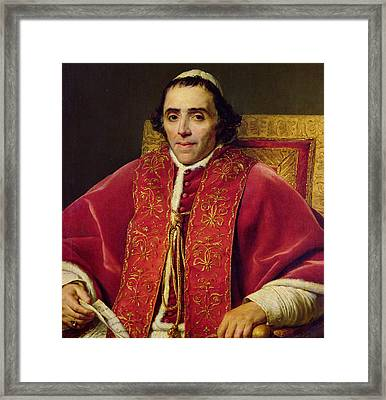 Portrait Of Pope Pius Vii Framed Print by Jacques Louis David
