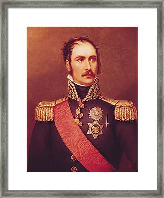 Portrait Of Prince Eugene De Beauharnais 1781-1824 Viceroy Of Italy And Duke Of Leuchtenberg Oil Framed Print by Jacques Louis David