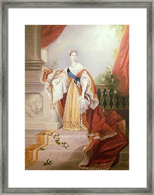 Portrait Of Queen Victoria Framed Print by Alfred-Edward Chalon