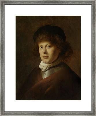 Portrait Of Rembrandt Harmensz Van Rijn, 1628 Oil On Panel Framed Print by Jan the Elder Lievens