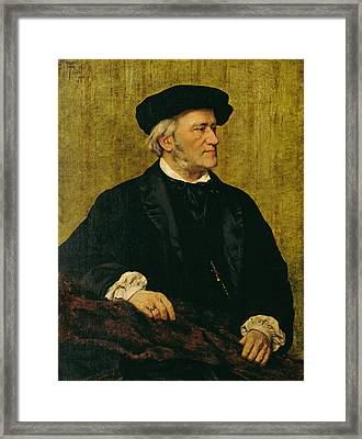 Portrait Of Richard Wagner Framed Print by Giuseppe Tivoli