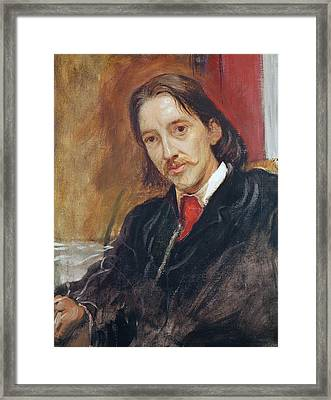 Portrait Of Robert Louis Stevenson Framed Print by Sir William Blake Richomond