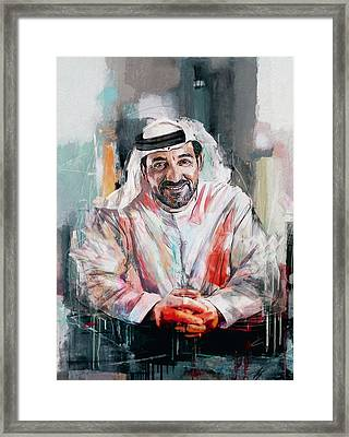 Portrait Of Sheikh Ahmed Bin Saeed Al Maktoum  Framed Print by Maryam Mughal