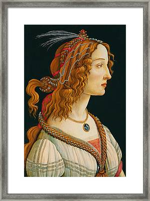 Portrait Of Simonetta Vespucci  Framed Print by Celestial Images