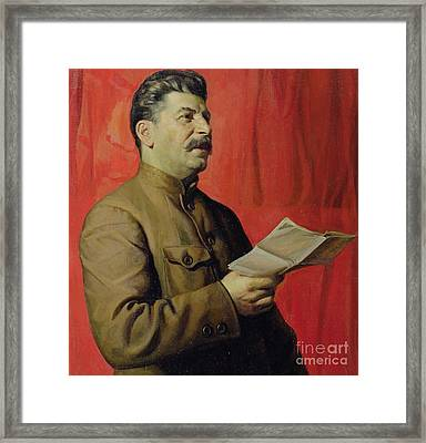 Portrait Of Stalin Framed Print by Isaak Israilevich Brodsky