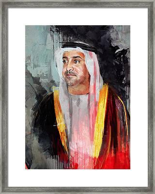 Portrait Of Sultan Bin Khalifa Al Nahyan Framed Print by Maryam Mughal