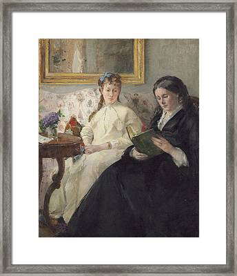 Portrait Of The Artist S Mother And Sister Framed Print by Berthe Morisot