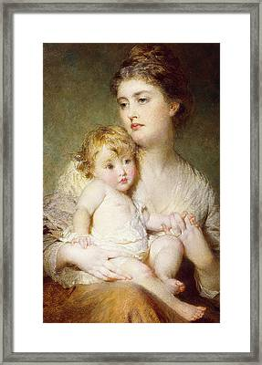 Portrait Of The Duchess Of St Albans With Her Son Framed Print by George Elgar Hicks